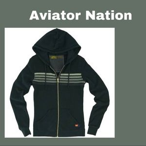 Aviator Nation Charcoal with Grey Striped Hoodie M